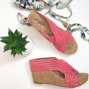 LUCKY BRAND miller cork wedge sandals